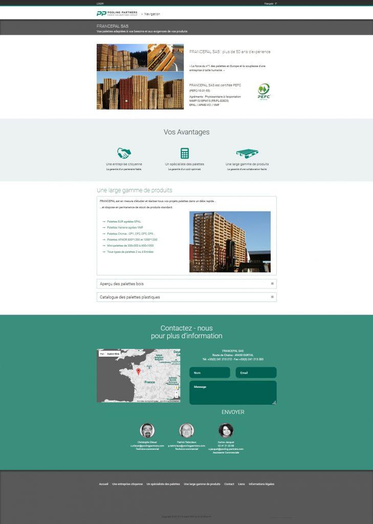 Site internet pour une entreprise de fabrication de Palettes Francepal